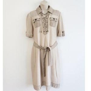 St. John Sport Wool Knit Cream Belt Midi Dress